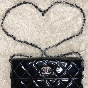 Chanel Black Patent Classic Flap WOC